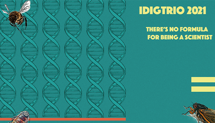 """iDigTRIO 2021: There's no formula for being a scientist"" with bees, DNA double helix structures as a background."
