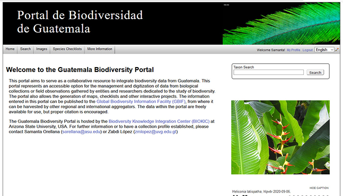 Screen shot of the home page of the Portal de Biodiversidad de Guatemala website.