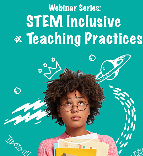 "A student holding books and looking up at the title ""STEM Inclusive Teaching Practices"""