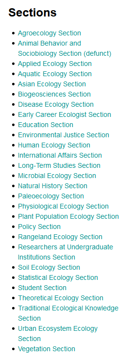 Ecology Groups from the Ecological Society of America