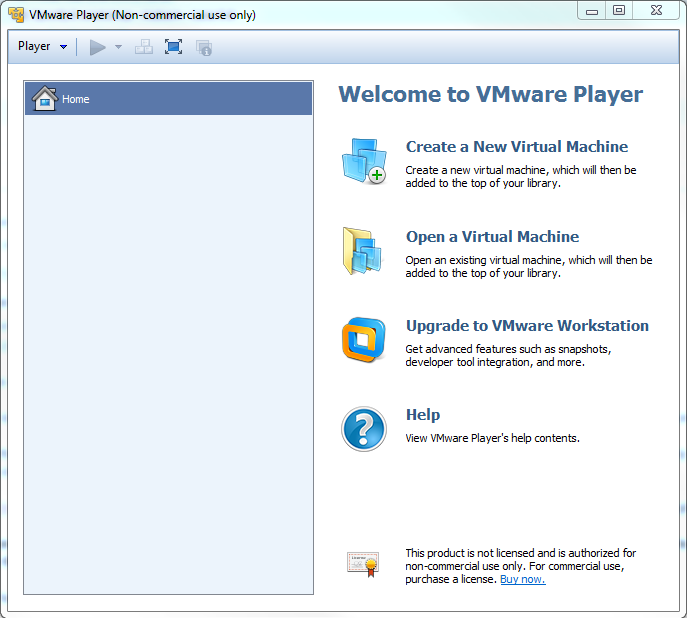 VMWare player opening screen.PNG